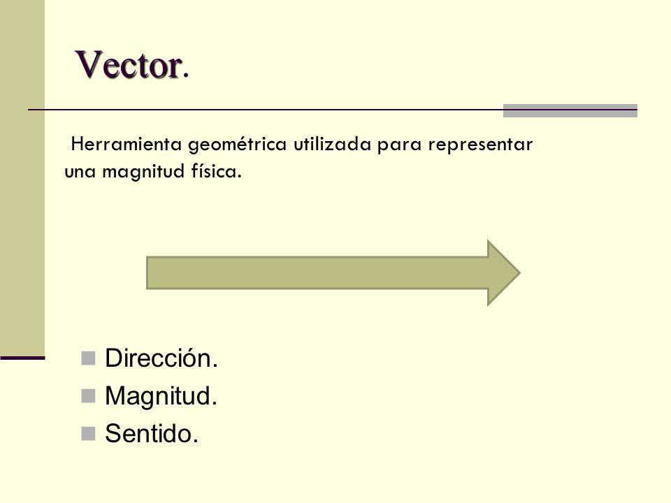 Vector. Dirección. Magnitud. Sentido.