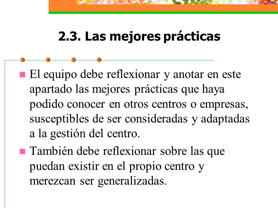 2.3. Las mejores prácticas