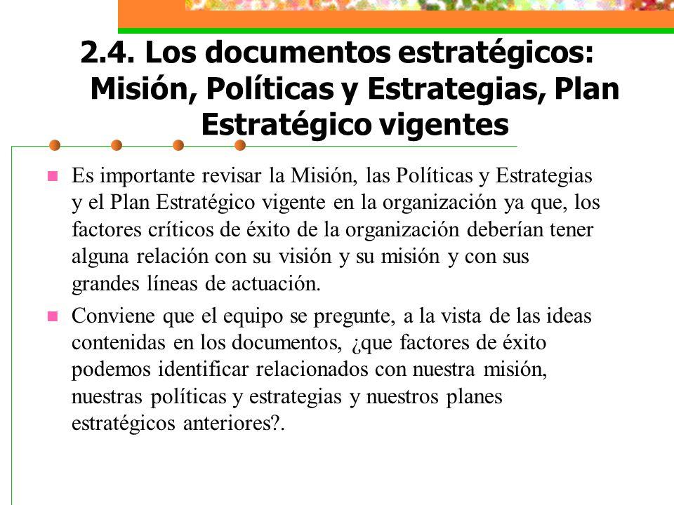 2.4. Los documentos estratégicos: Misión, Políticas y Estrategias, Plan Estratégico vigentes