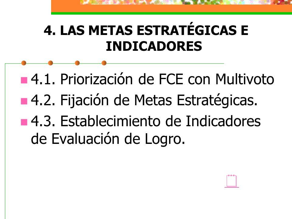 4. LAS METAS ESTRATÉGICAS E INDICADORES