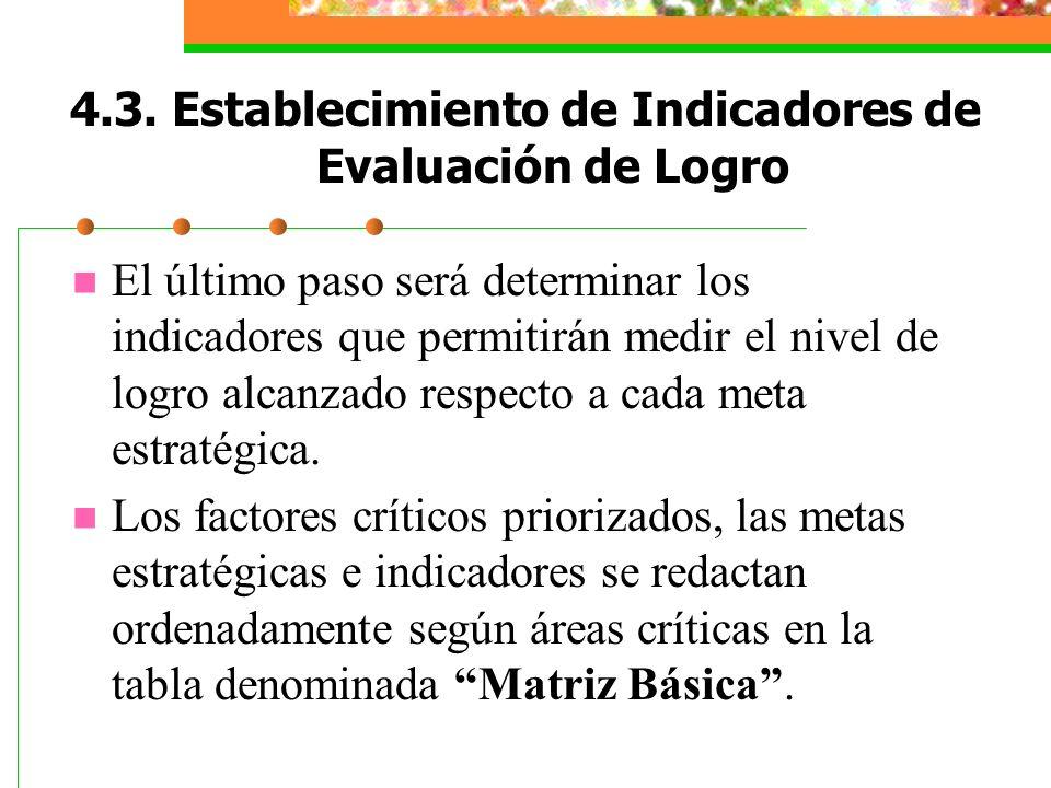 4.3. Establecimiento de Indicadores de Evaluación de Logro