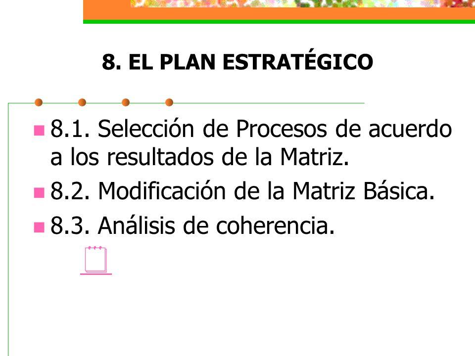 8.1. Selección de Procesos de acuerdo a los resultados de la Matriz.