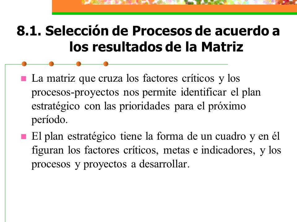 8.1. Selección de Procesos de acuerdo a los resultados de la Matriz
