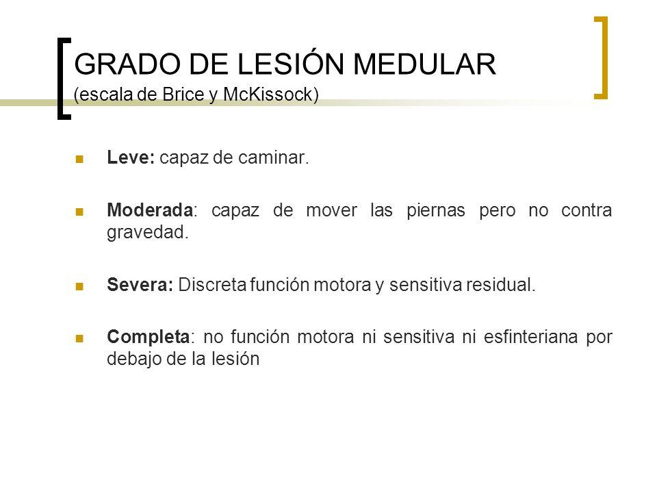 GRADO DE LESIÓN MEDULAR (escala de Brice y McKissock)