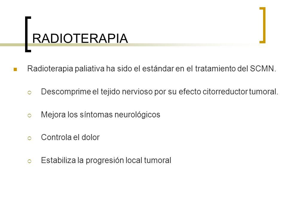RADIOTERAPIA Radioterapia paliativa ha sido el estándar en el tratamiento del SCMN.