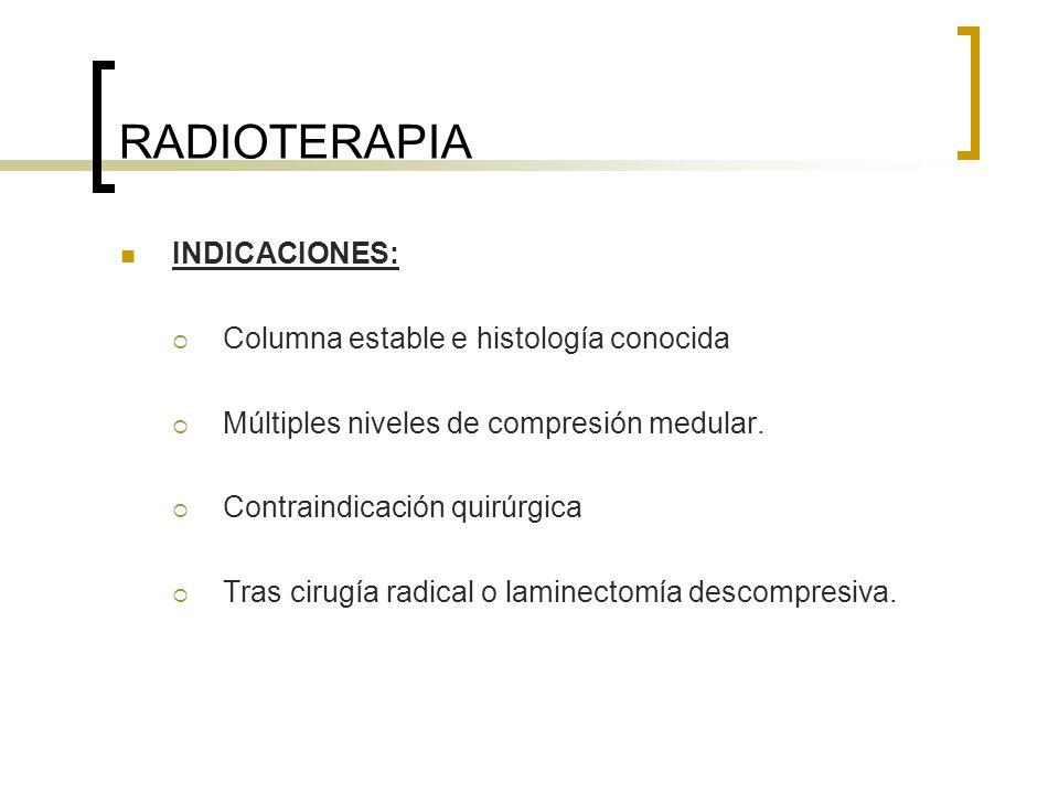 RADIOTERAPIA INDICACIONES: Columna estable e histología conocida