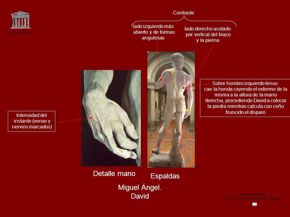 Detalle mano Espaldas Miguel Ángel. David Contraste lado izquierdo más