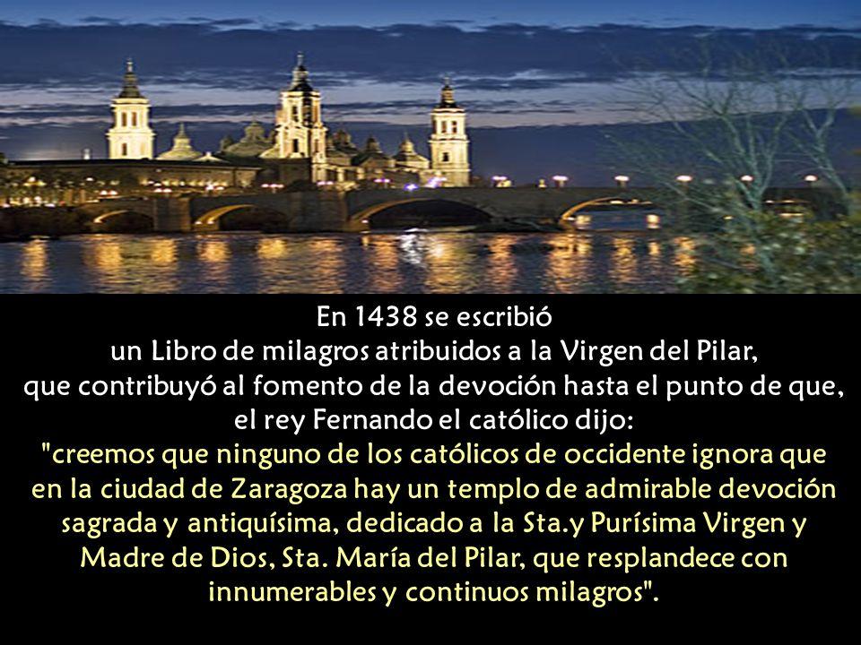 un Libro de milagros atribuidos a la Virgen del Pilar,