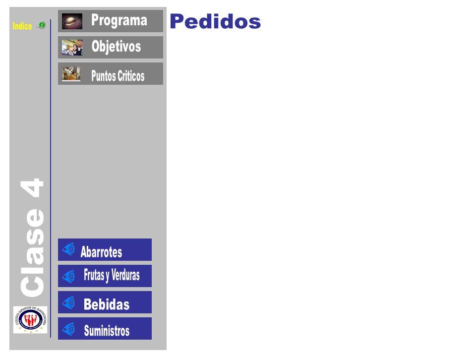 Indice Clase 4 Pedidos Programa Objetivos Puntos Criticos Abarrotes