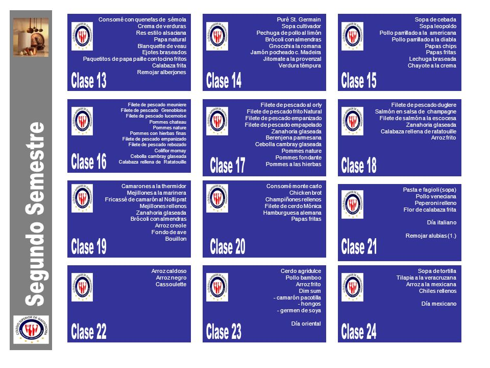 Clase 13 Clase 14 Clase 15 Clase 16 Clase 17 Clase 18 Segundo Semestre