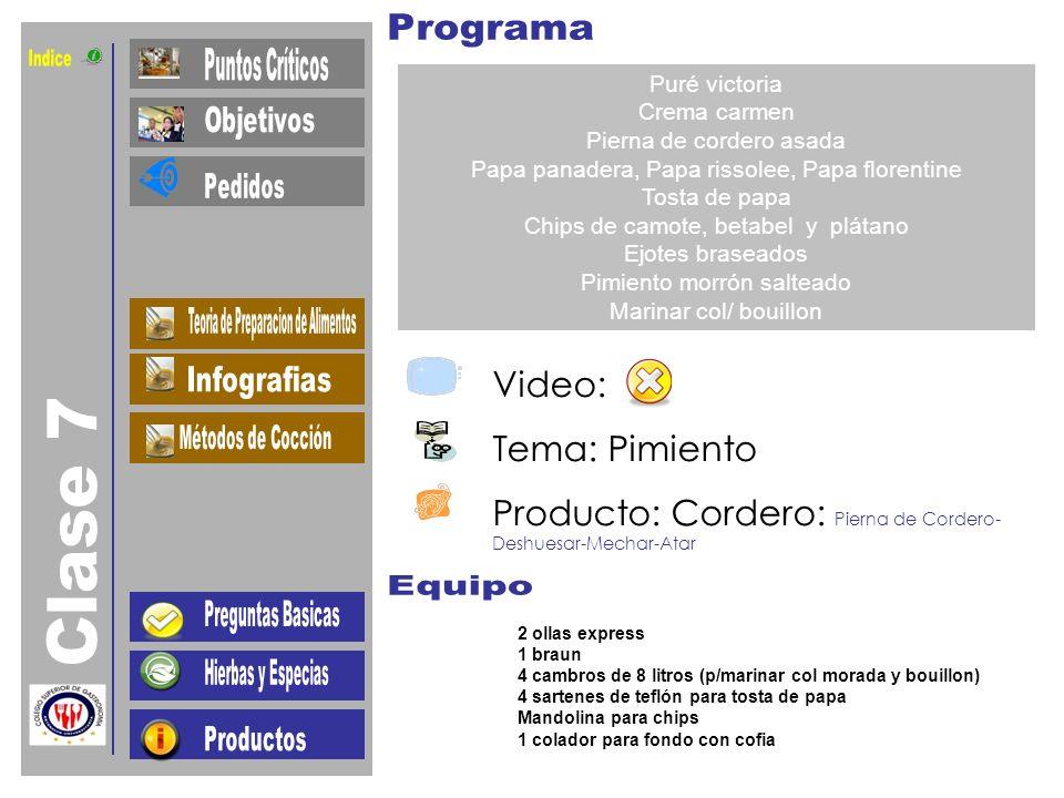 Indice Clase 7 Video: Tema: Pimiento