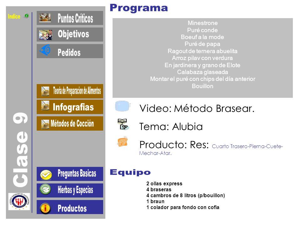 Indice Clase 9 Video: Método Brasear. Tema: Alubia