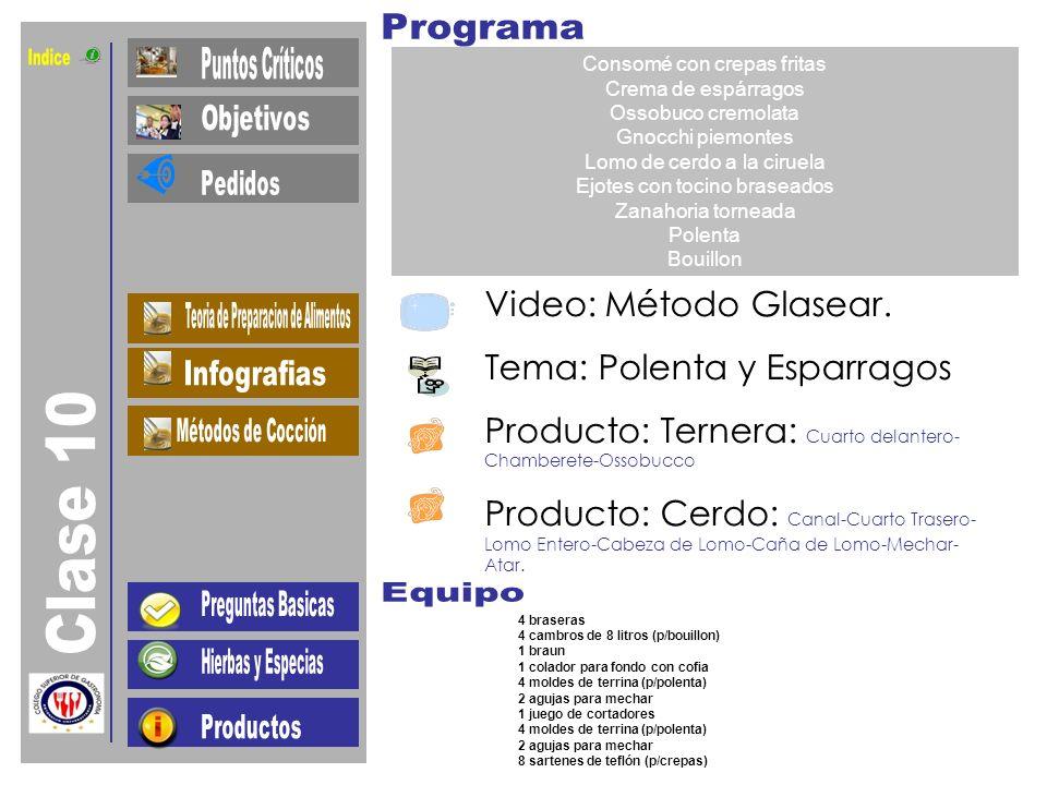 Indice Clase 10 Video: Método Glasear. Tema: Polenta y Esparragos