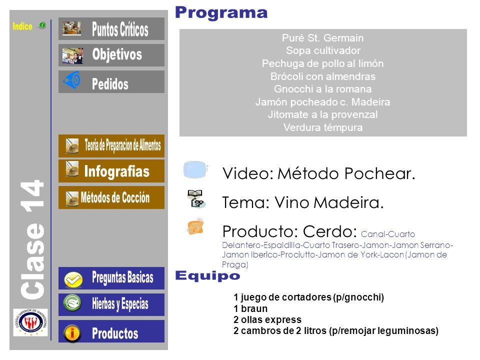 Indice Clase 14 Video: Método Pochear. Tema: Vino Madeira.