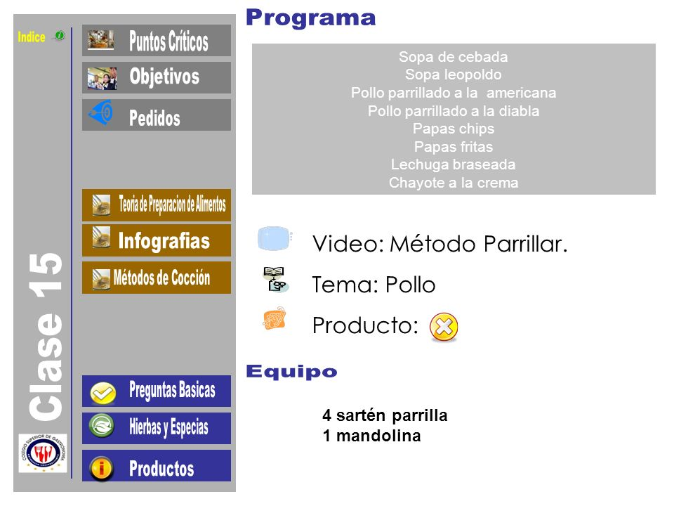 Indice Clase 15 Video: Método Parrillar. Tema: Pollo Producto: