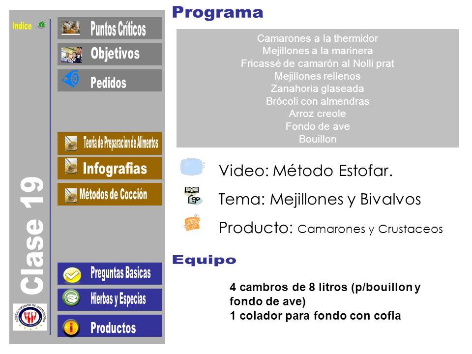 Indice Clase 19 Video: Método Estofar. Tema: Mejillones y Bivalvos