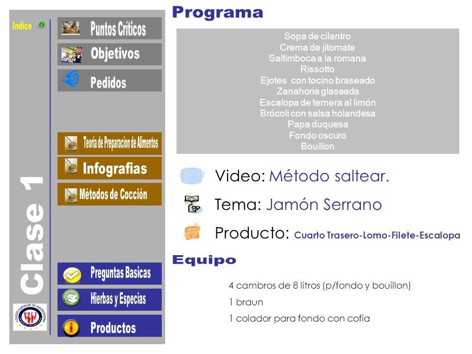 Indice Clase 1 Video: Método saltear. Tema: Jamón Serrano
