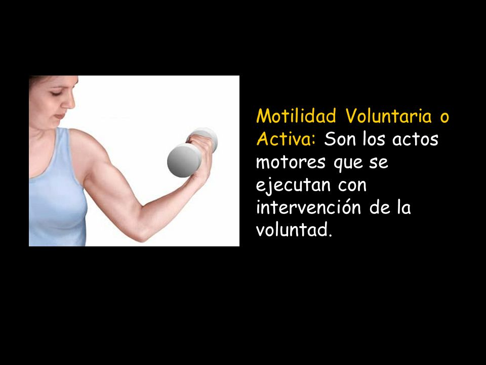 Motilidad Voluntaria o Activa: Son los actos motores que se ejecutan con intervención de la voluntad.