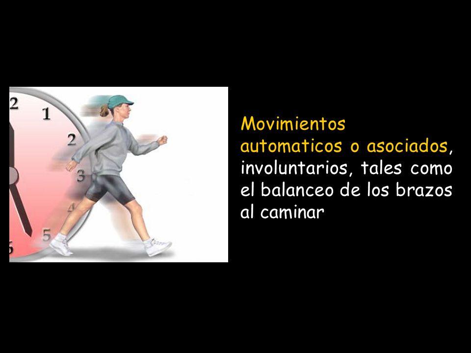 Movimientos automaticos o asociados, involuntarios, tales como el balanceo de los brazos al caminar