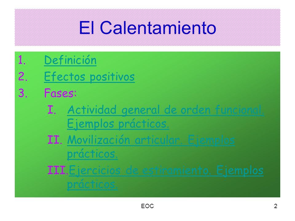 El Calentamiento Definición Efectos positivos Fases: