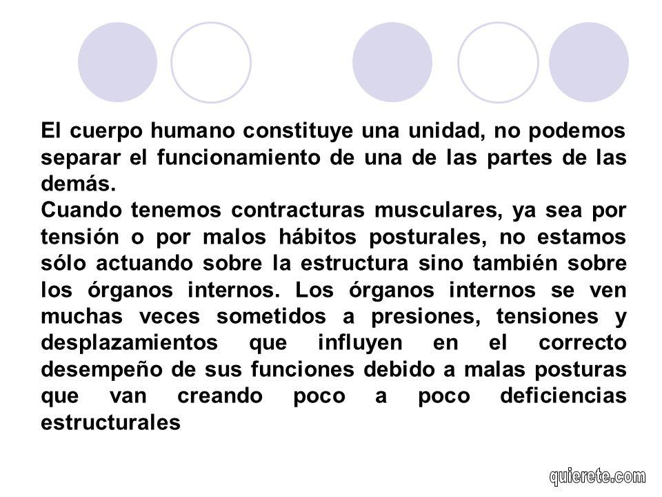 El cuerpo humano constituye una unidad, no podemos separar el funcionamiento de una de las partes de las demás.