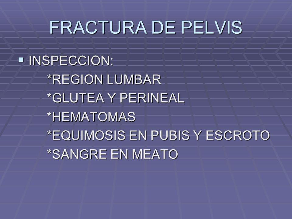 FRACTURA DE PELVIS INSPECCION: *REGION LUMBAR *GLUTEA Y PERINEAL