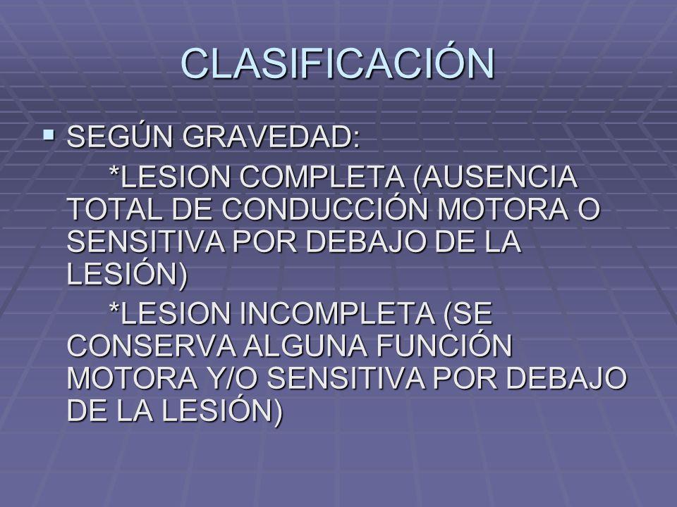 CLASIFICACIÓN SEGÚN GRAVEDAD:
