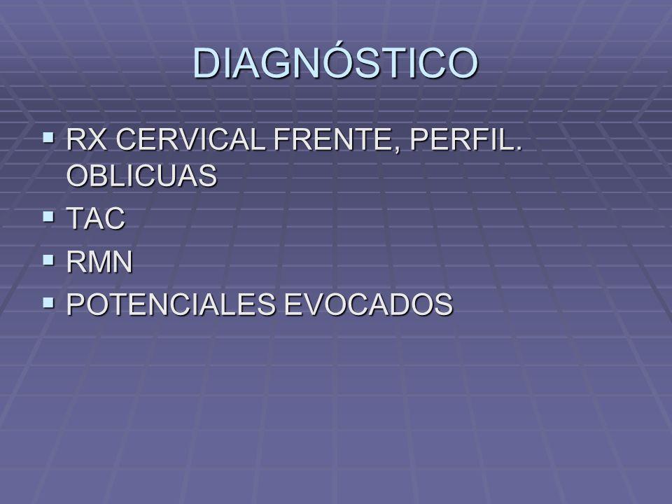 DIAGNÓSTICO RX CERVICAL FRENTE, PERFIL. OBLICUAS TAC RMN