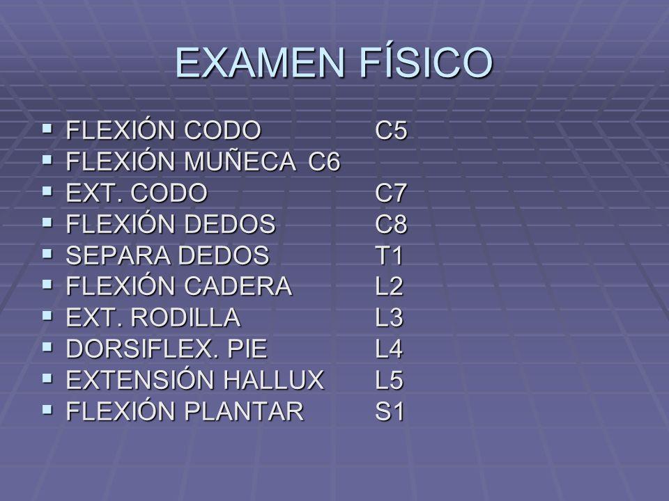 EXAMEN FÍSICO FLEXIÓN CODO C5 FLEXIÓN MUÑECA C6 EXT. CODO C7