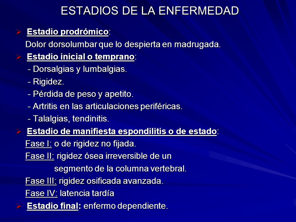ESTADIOS DE LA ENFERMEDAD