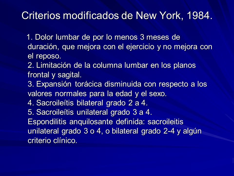 Criterios modificados de New York, 1984.