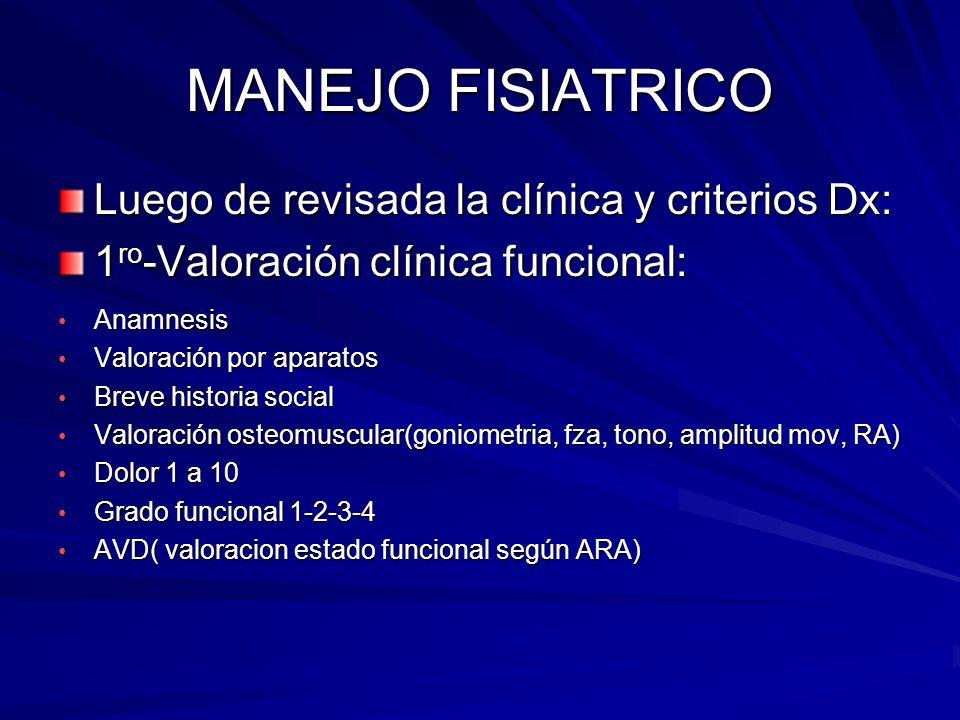 MANEJO FISIATRICO Luego de revisada la clínica y criterios Dx:
