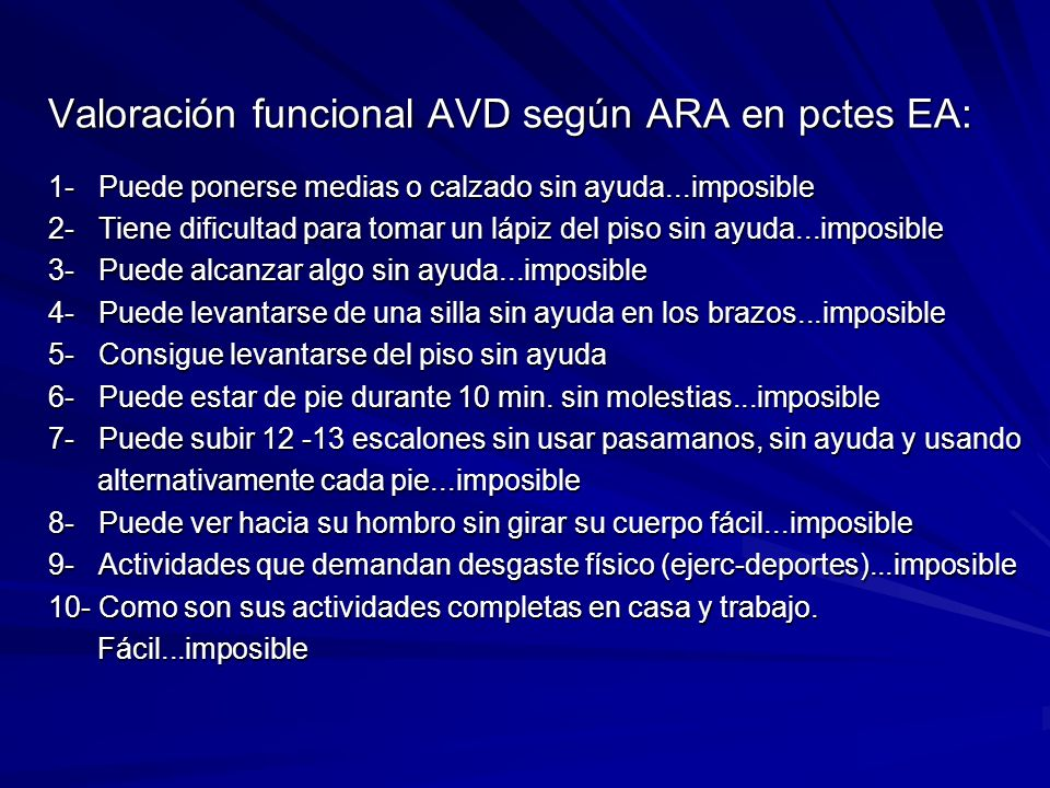 Valoración funcional AVD según ARA en pctes EA: