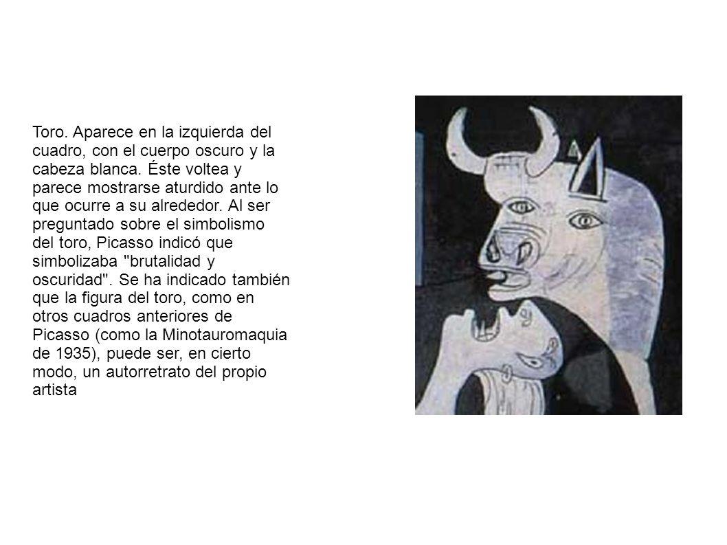 Toro. Aparece en la izquierda del cuadro, con el cuerpo oscuro y la cabeza blanca.