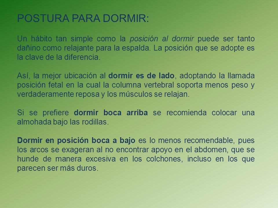 POSTURA PARA DORMIR: