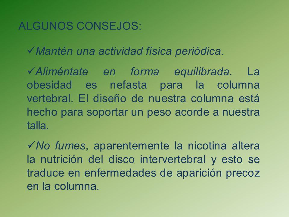 ALGUNOS CONSEJOS: Mantén una actividad física periódica.