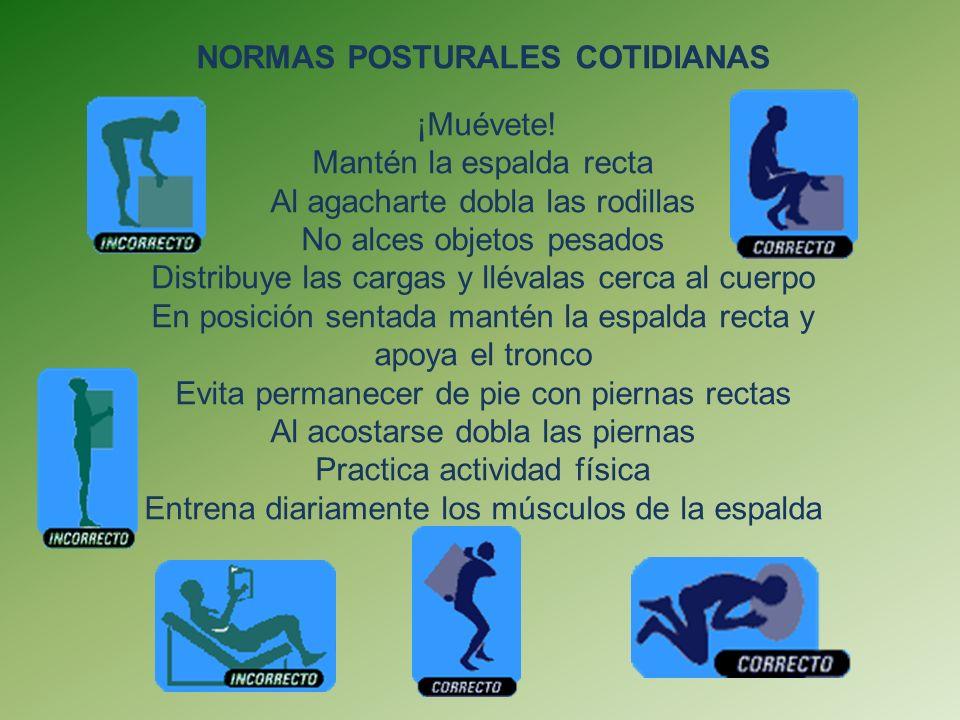NORMAS POSTURALES COTIDIANAS ¡Muévete!