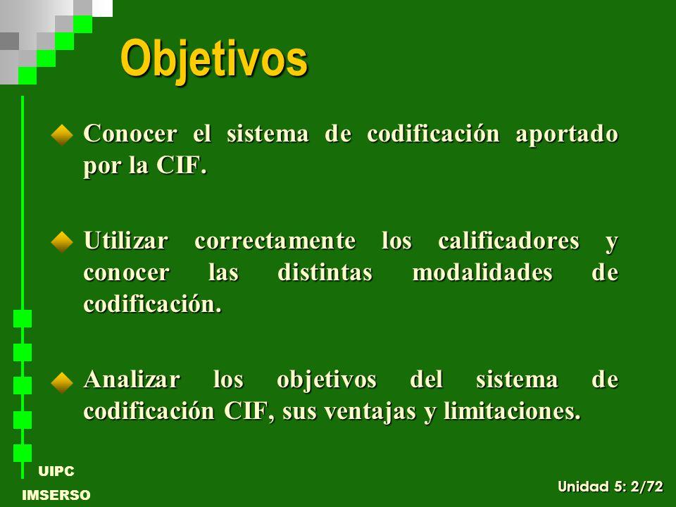 Objetivos Conocer el sistema de codificación aportado por la CIF.