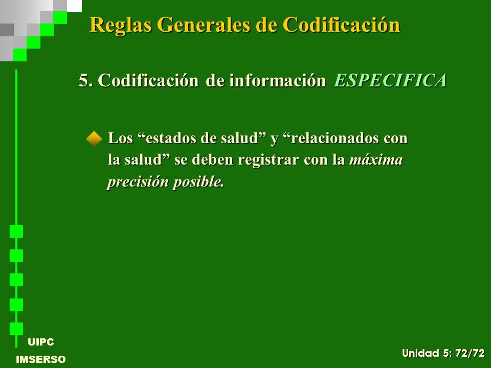Reglas Generales de Codificación