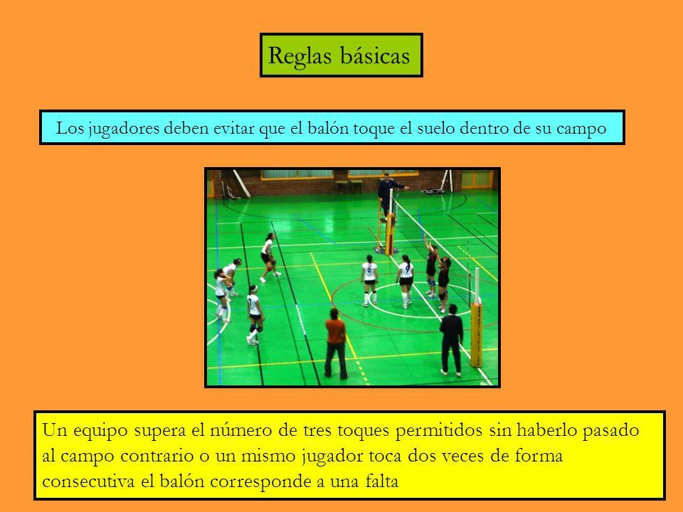 Reglas básicas Los jugadores deben evitar que el balón toque el suelo dentro de su campo.