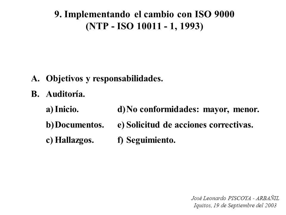 9. Implementando el cambio con ISO 9000 (NTP - ISO 10011 - 1, 1993)