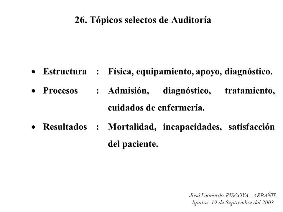 26. Tópicos selectos de Auditoría