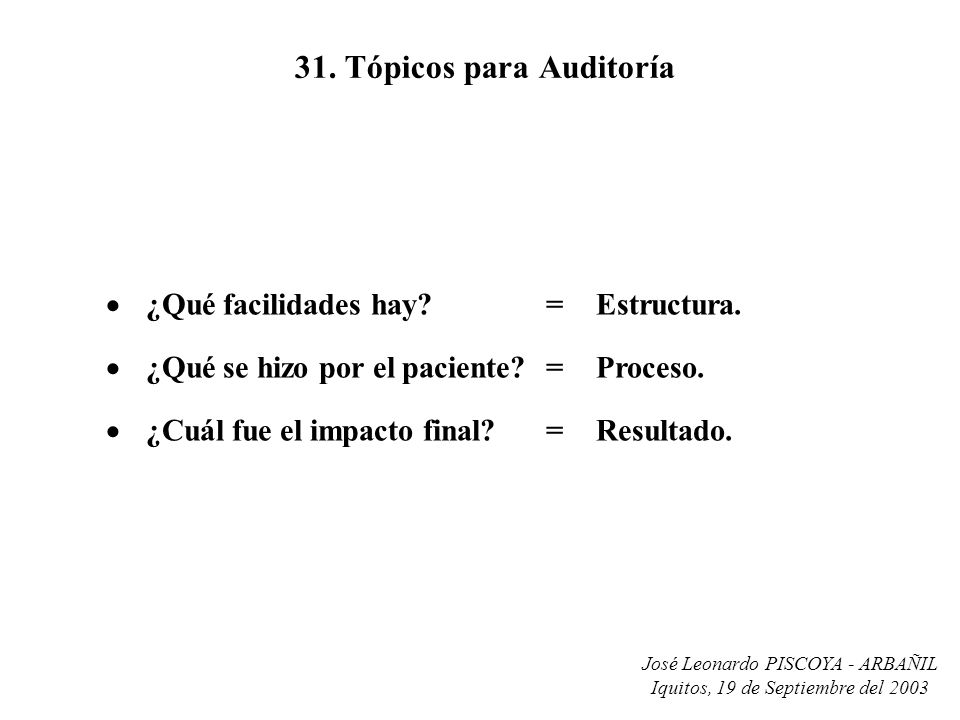 31. Tópicos para Auditoría