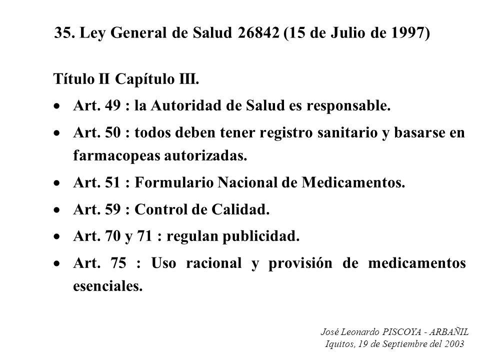 35. Ley General de Salud 26842 (15 de Julio de 1997)