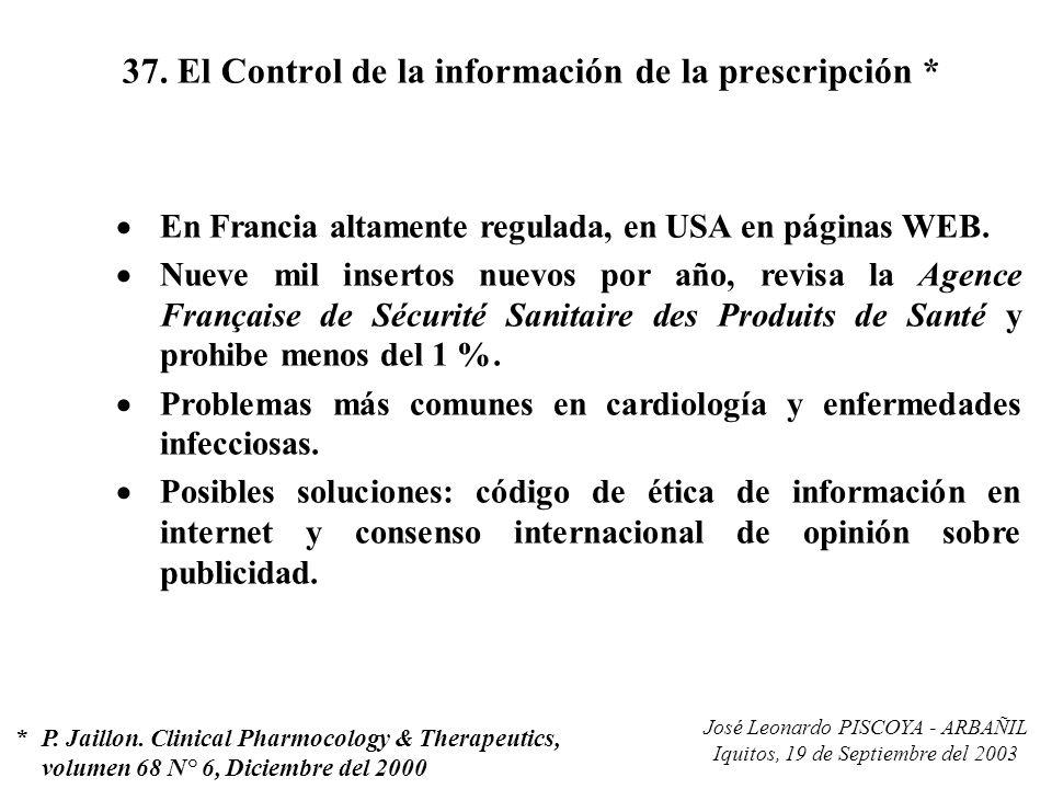 37. El Control de la información de la prescripción *