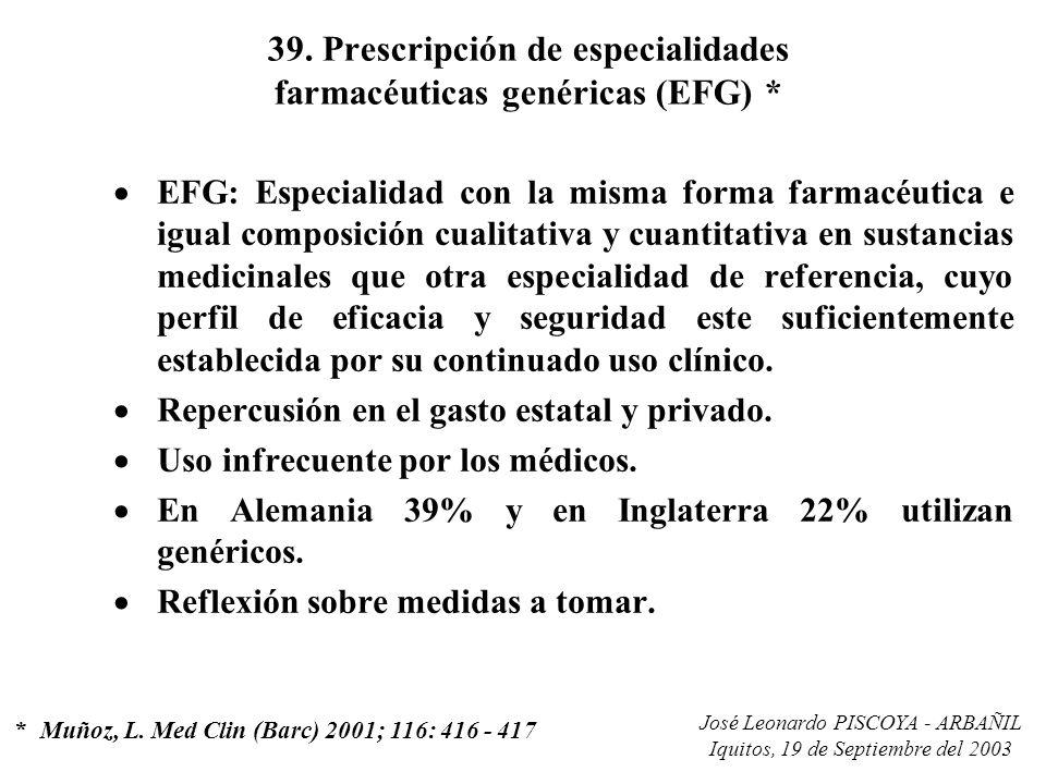 39. Prescripción de especialidades farmacéuticas genéricas (EFG) *
