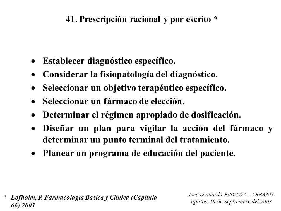41. Prescripción racional y por escrito *