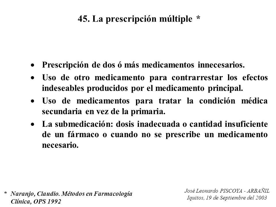 45. La prescripción múltiple *