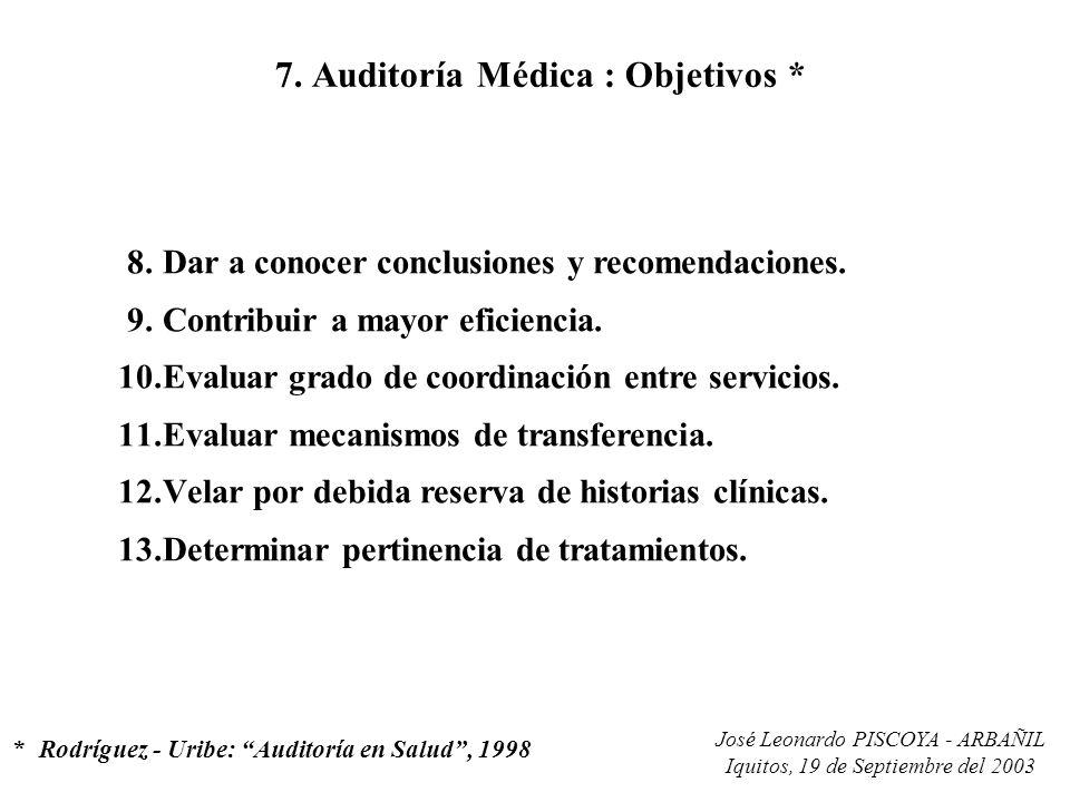 7. Auditoría Médica : Objetivos *