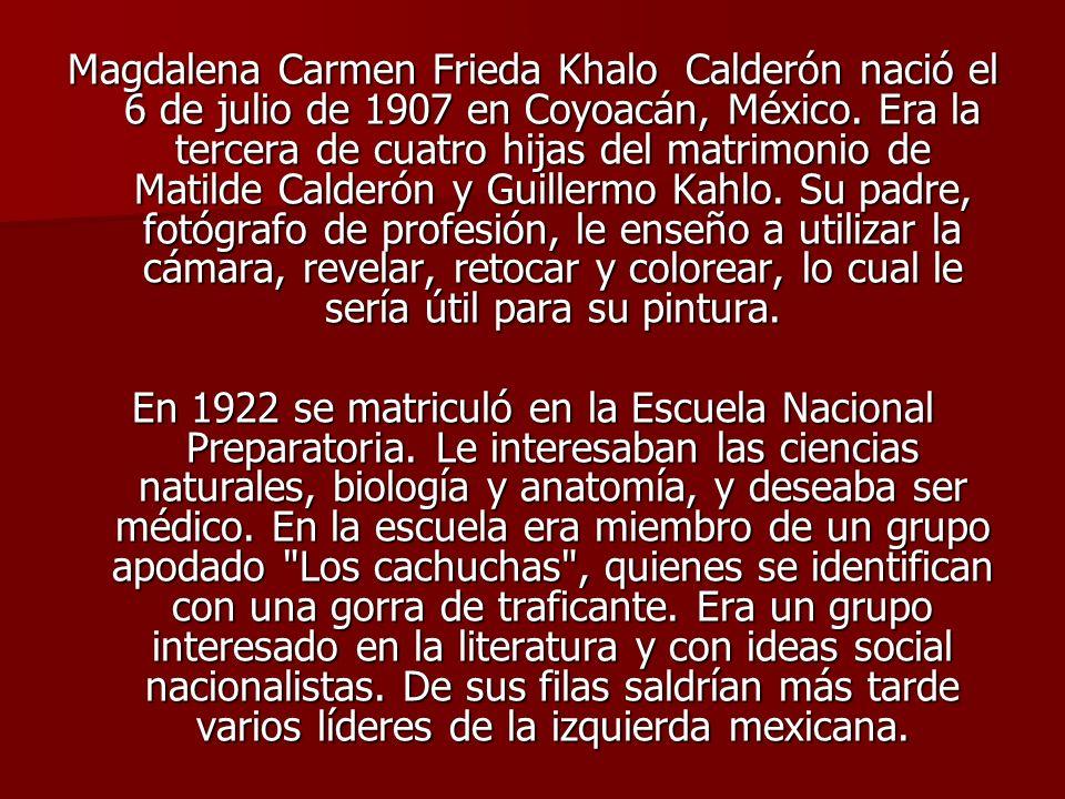 Magdalena Carmen Frieda Khalo Calderón nació el 6 de julio de 1907 en Coyoacán, México. Era la tercera de cuatro hijas del matrimonio de Matilde Calderón y Guillermo Kahlo. Su padre, fotógrafo de profesión, le enseño a utilizar la cámara, revelar, retocar y colorear, lo cual le sería útil para su pintura.